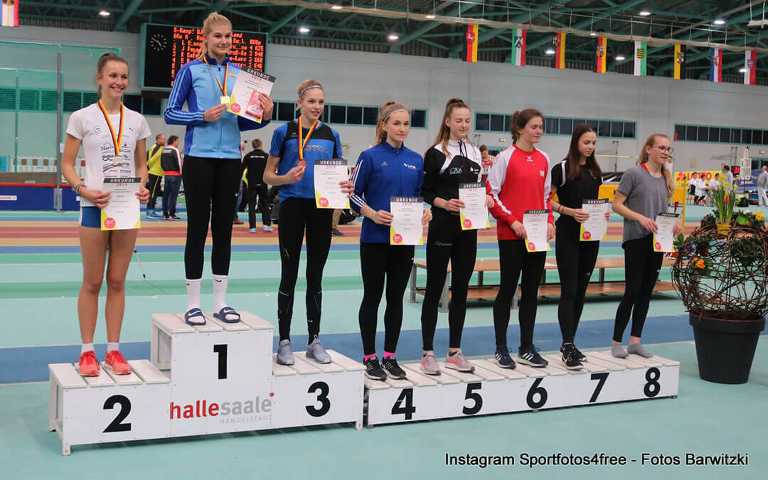 Siegerehrung Seutsche Mehrkampfmeisterschaften 2019 mit Mara Barwitzki